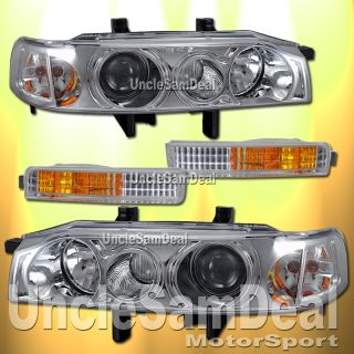 90 91 Honda Accord Projector Chrome Headlights Clear Corner Set 4 Pieces