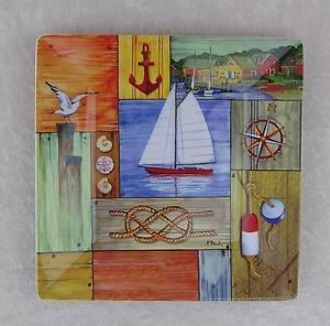 "Nautical Garden Decor Harbour View 8"" Square Lunch Dinner Melamine 4 Plate Set"