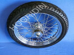 VT Harley Davidson Shovelhead FXWG Chrome 40 Spoke Laced Front Wheel Rim Tire