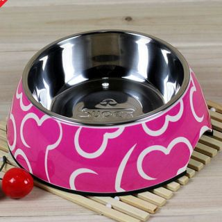 Non Slip Pet Puppy Dog Cat Food Bowl Feeder Dish Melamine Stainless Steel