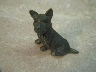 Vtg Brass Scottie Scotty Scottish Terrier Dog Figurine Miniature Heavyweight 2""
