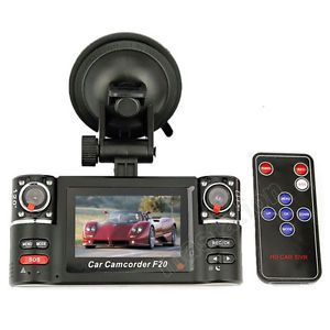 Dual Camera 720P Two Lens Car Video Audio Recorder DVR SOS Motion Detect CA F20