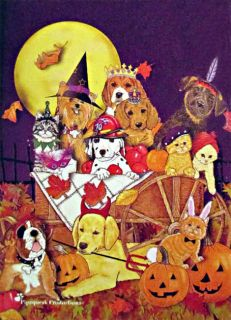 Halloween Animal Dog and Cat House Flag Pumpkins Full Moon