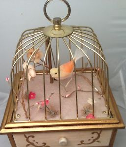 Vintage Singing Bird in Brass Cage Music Jewelry Box Norleans