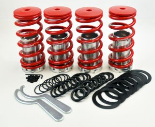 "Honda Adjustable 0 4"" Red Suspension Coilovers lowering Springs Kit Megan Racing"