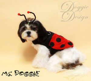 Fashion Pet Dog Cat Clothes Costume Ladybug Costume with Antenna Head Piece