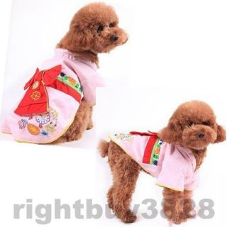 Good Quality x Small XL Pet Apparel Dog Cat Clothes Kimono Bow Tie Costume Dress