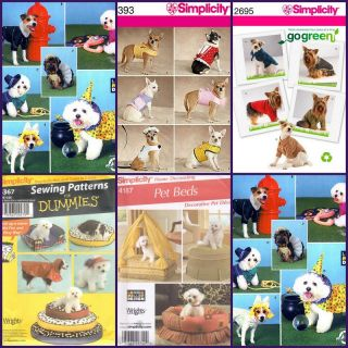 Simplicity Sewing Pattern Pets Dog Clothes Accessories Beds Costumes