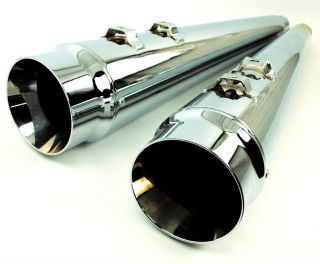 Chrome Megaphone Slip on Mufflers Exhaust Pipes Harley Touring FLHR FLHX FLHT