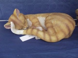 Resin Sleeping Ginger Cat Ornament Gifts Garden Ornaments Statues