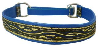 "Soft Leather 1"" Wide Martingale Dog Collar Choker Fits 16"" 19 5"" Neck Blue"