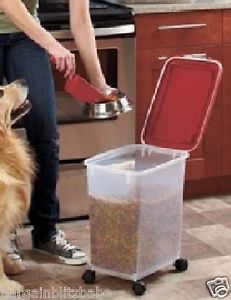 3 Pce Pet Dog Cat Food Storage Rolling Containers Treats Seed Bin Scoop Airtight