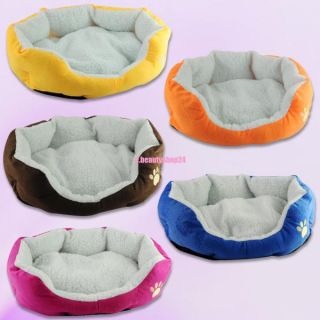Warm Soft Puppy Pet Dog Cat Kitten Sponge Bed Sleep House with Mat Soft Pad M