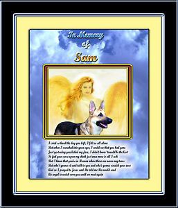 Pet Memorial German Shepherd w Angel Personalized w Pet's Name Poem Unique Gift