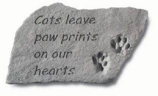 "Pet Memorial Stone Garden Plaque ""Cats Leave Paw Prints"" Cat Memorial Stone"