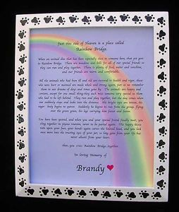 Rainbow Bridge Pet Memorial N Hand Painted Black Paw Prints Frame Customize