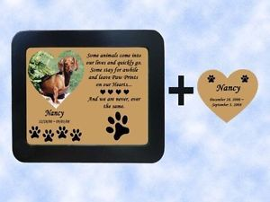 Engraved 5x7 Framed Photo Pet Memorial Poem Heart Name Plate Dog Cat Any Pet