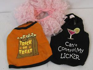 Lot of 3 Small Female Dog Clothes Outfits Costumes Pet Set Halloween Liquor Tutu