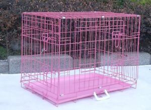 "Extra Large 48"" Pink Folding Pet Dog Cat Cage Crate Kennel ABS"