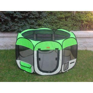 New Large Green Pet Dog Cat Tent Playpen Exercise Play Pen Soft Crate