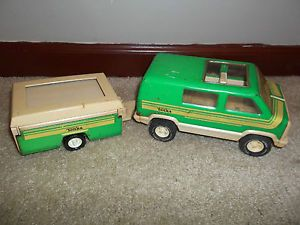 Vintage 70's Tonka Camping Van and Popup camper Toy Classic
