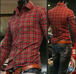 2012 New Mens Casual Stylish Slim Fit Plaid Pocket Check Shirts