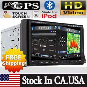 "In Dash 7"" 2 DIN Car Stereo DVD Player GPS Dual Zone iPod Bluetooth Radio TV Map"