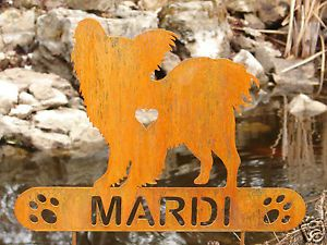 Papillon Garden Plaque Pet Memorial Yard Stake Personalized Dog K9 Metal Art