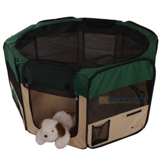 "New 35"" Small 2 Door Playpen Pet Puppy Dog Cat Tent Crate Exercise Kennel Greem"