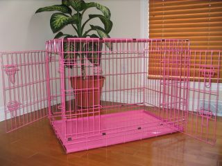 "XLarge 48"" Pink Folding Pet Dog Cage Crate Kennel ABS"