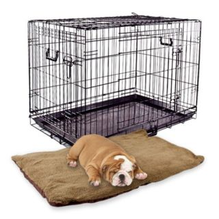 "36"" Puppy Crate Cage Kennel Large Folding Dog 3 Doors Divider Brown Bed Pad Mat"