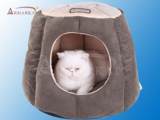 Armarkat New Design Hooded Pet Cat Bed Laurel Green Beige Padded Washable C30HML