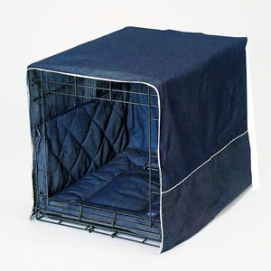 "Pet Dreams Denim 30"" Dog Pet Puppy Wire Crate Cage Training Cover Bed Bumper Pad"