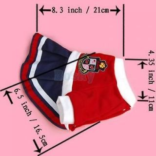 Cool Schoolgirl Skirt Pet Dog Puppy Dress Coat Spring Clothes Apparel Cotton S
