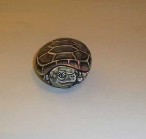 OOAK Original Hand Painted Green Brown Turtle Rock Folk Art Stone Pebble Pet