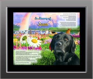 Pet Memorial Black Lab Personalized w Dog's Name Rainbow Bridge 2 Unique Gift