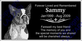 Personalized Boston Terrier Pet Dog Memorial 12x6 Engraved Granite Grave Marker