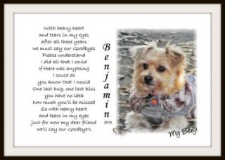 Personalized Pet Memorial Poem Your Photo Dog Cat Horse U Print