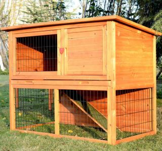 Deluxe Wooden Rabbit House Wood Rabbit Hutch Little Pet Cage 3 Doors