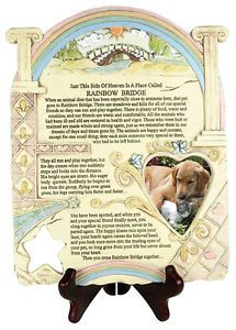 Remembrance Plaque Pet Memorial Rainbow Bridge Poem Picture Frame Stone Look