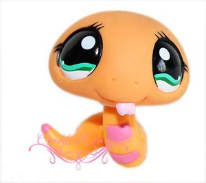 Littlest Pet Shop LPS Orange Reptile Snake Green Eyes 1387
