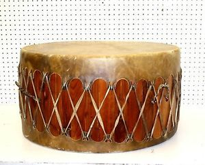 "Nice Handcrafted 27"" Native American Indian Rawhide pow WOW Drum Pendleton Cover"