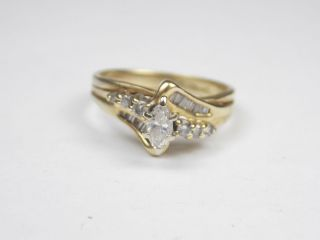 Pretty 14k Yellow Gold Marquise Diamond Wrap Ring Size 6 5