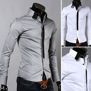 E06 Menswear Casual Luxury Stylish Long Casual Premium Slim Fit Dress Shirts Hot