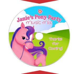 6 Pink Pony Horse Cowgirl Party Favors CD DVD Label