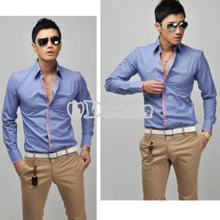 DN00 New Korean Men's Fashion Stylish Casual Shirts Slim Fit Long Sleeve Shirt