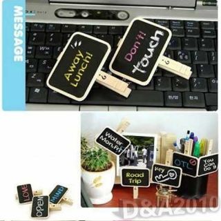 Mini Tiny Cute Square Wooded Blackboard Message Memo Chalk Board Clip Holder