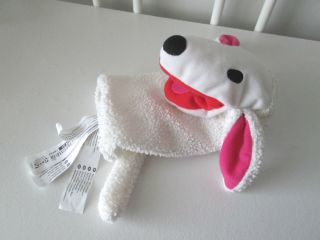 "10"" IKEA White Klappar Lantlig Puppy Dog Sheep Plush Hand Puppet Red Mouth Toy"