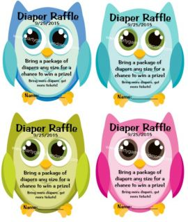 Unique Personalized Owl Diaper Raffle Tickets Baby Shower Invitation Inserts