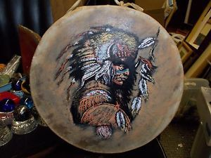 "Decorative 7"" Rawhide Drum Hand Painted Indian Chief Buffalo Head Dress"